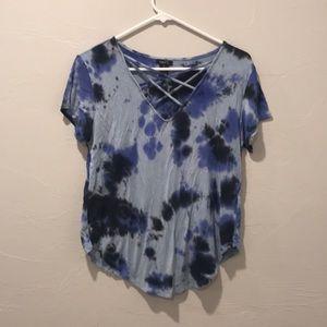 Cross neck purple and blue tie dye tee
